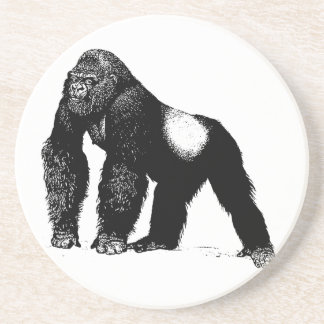 Vintage Silverback Gorilla Illustration, Black Drink Coaster