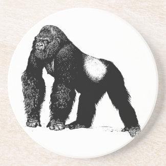 Vintage Silverback Gorilla Illustration, Black Drink Coaster