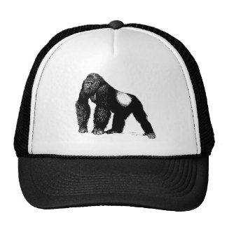 Vintage Silverback Gorilla Illustration Black Trucker Hat