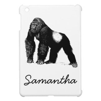 Vintage Silverback Gorilla Illustration Black iPad Mini Covers