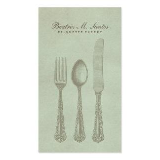 Vintage Silverware Cool Fork Spoon Knife Simple Pack Of Standard Business Cards