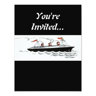 Vintage Simple Ship Illustration 11 Cm X 14 Cm Invitation Card