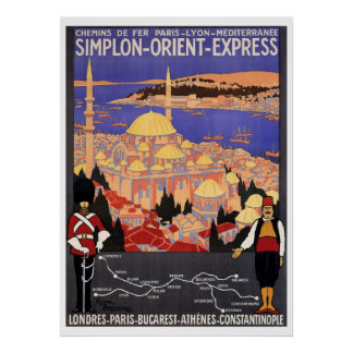 Vintage Simplon Orient Express to Constantinople Poster