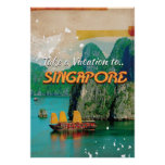Vintage Singapore Vacation Poster.