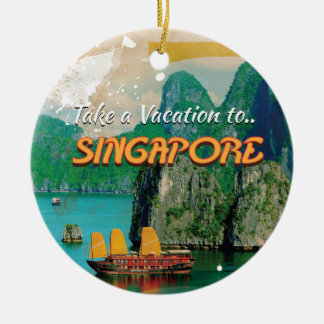 Vintage Singapore Vacation Poster. Round Ceramic Decoration