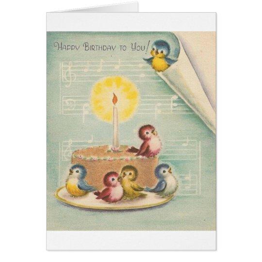 Vintage Singing Birds And Cake Birthday Card