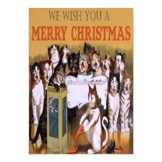 Vintage Singing Cats Christmas Greeting Magnetic Invitations