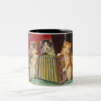 Vintage Singing Playful Kittens Coffee Cup Two-Tone Mug