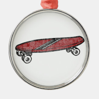 Vintage Skateboard Silver-Colored Round Decoration