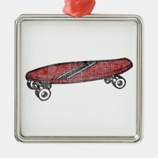 Vintage Skateboard Silver-Colored Square Decoration
