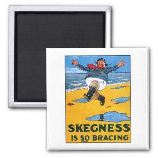 Vintage Skegness Ad - Skegness is so Bracing - Man Square Magnet