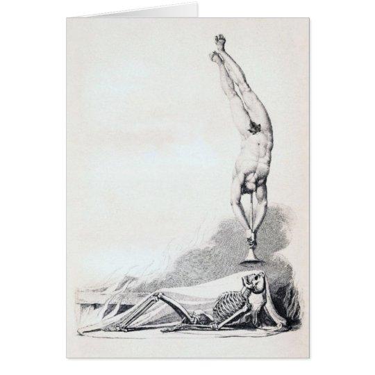 Vintage Skeleton Being Called Up Card