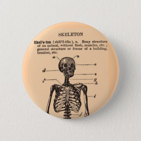 Vintage Skeleton Definition 6 Cm Round Badge