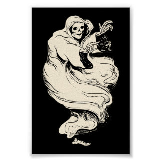 Vintage Skeleton Ghost Poster