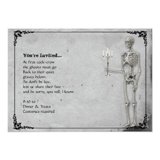 Vintage Skeleton Halloween Party Card