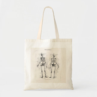 Vintage Skeleton Human Anatomy Bone Bones Skull Budget Tote Bag