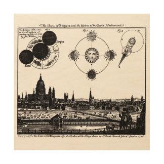 Vintage Sketch of 1748 Sun Eclipses in London Wood Wall Art
