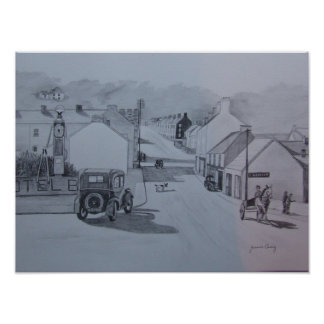 Vintage Sketch of Cushendall, Glens of Antrim Poster