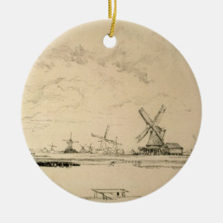 Vintage Sketch of Windmills Christmas Ornament