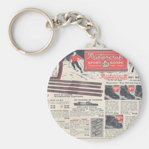 Vintage ski advertisement, winter sports goods keychain