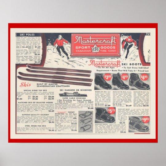 Vintage Ski advertising, Skiwear and equipment Poster