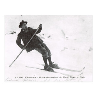 Vintage Ski, Descending Mt Blanc on skis Postcard