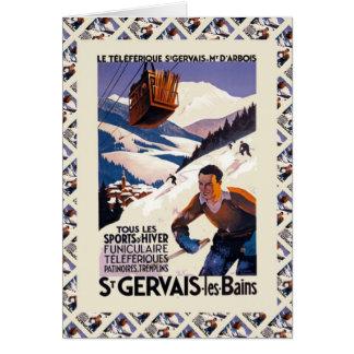 Vintage Ski, France, St Gervais les Bains Greeting Card