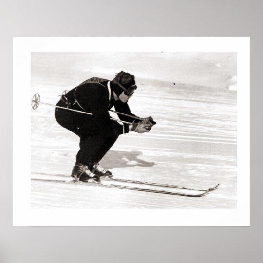 Vintage ski iamge, Gliding downhill Poster