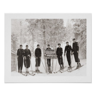 Vintage ski iamge, Group photo Poster