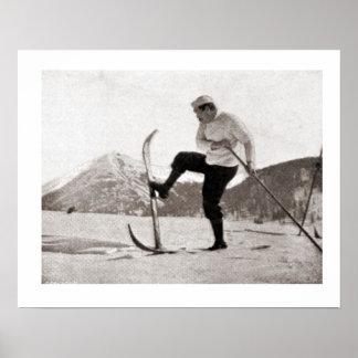 Vintage ski iamge, Wooden skis, single pole Poster