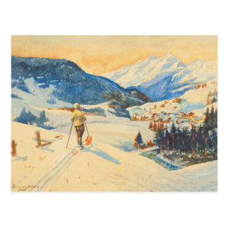 Vintage ski  image, Cross country in the mountains Postcard