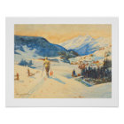 Vintage ski  image, Cross country skiing Poster