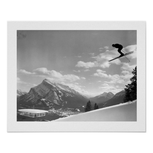 Vintage ski  image,Final race for the finish Print