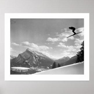 Vintage ski image Final race for the finish Print