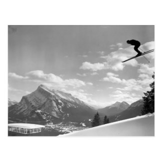 Vintage ski image Flying through the air Postcards