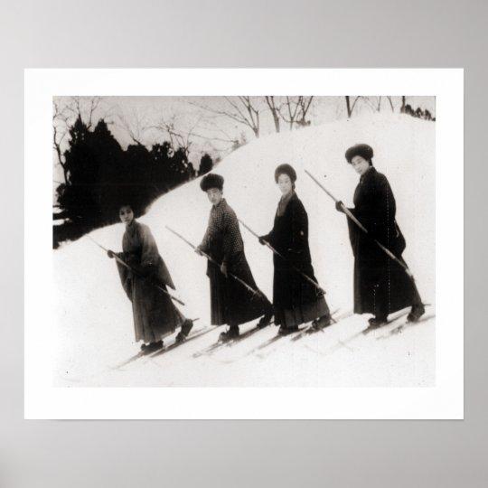 Vintage ski image, Four Japanese ladies Poster