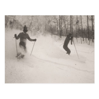 Vintage ski  image, Great powder! Postcard