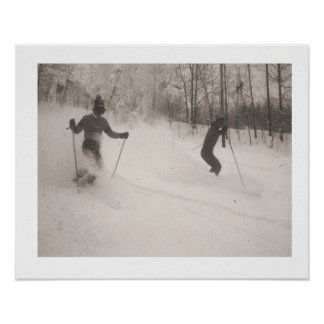 Vintage ski  image, Powder is wonderful Poster