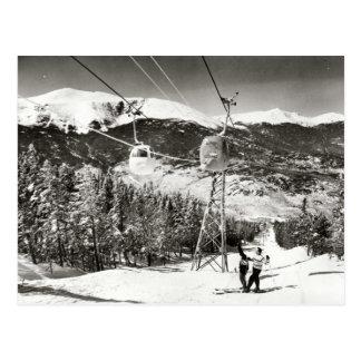 Vintage ski image Ski lift Postcard