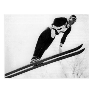 Vintage ski  image,  Taking off! Postcard