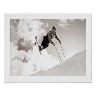 Vintage ski  image, Tricks on skis Poster
