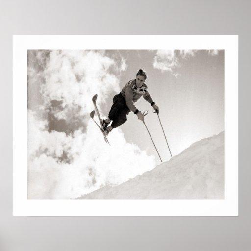 Vintage ski  image, Tricks on skis Posters