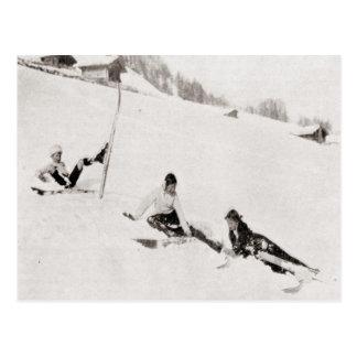 Vintage ski image Tumbling down Postcard