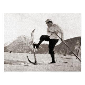 Vintage ski  image, Wooden skis, single pole Postcard