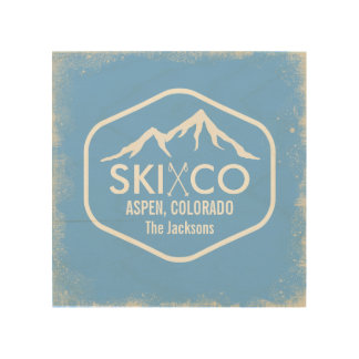 Vintage Ski Mountain Aspen CO Rustic Snow Sky Blue Wood Wall Decor