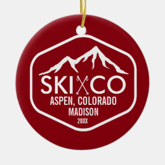 Vintage Ski Mountain Logo Aspen Colorado Custom Christmas Ornament