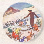 Vintage Ski Poster, Arlberg, St Anton Drink Coasters