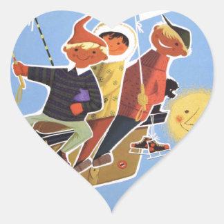 Vintage Ski poster, Bavaria Heart Sticker
