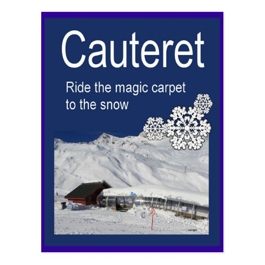 Vintage Ski Poster, Cauteret,Ride the Magic Carpet Postcard