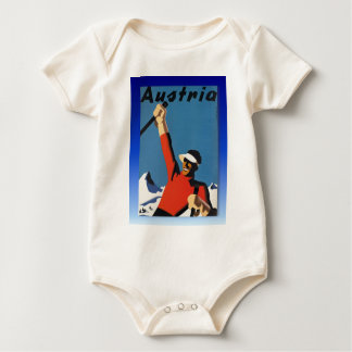 Vintage ski poster, celebrate snow baby bodysuit